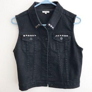 Chiqle Black Denim Vest with Silver Accents